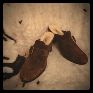 Ugg Brown Suede Heeled Loafers